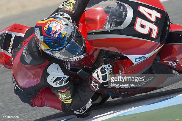 Jonas Folger of Germany and Arginano Gines Racing rounds the bend during the MotoGp of Spain Free Practice at Circuito de Jerez on May 1 2015 in...
