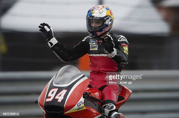 Jonas Folger of Germany and Arginano Gines Racing the second place at the end of the Moto2 race during the MotoGP Of Japan Race at Twin Ring Motegi...