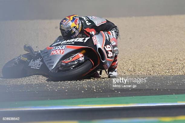 Jonas Folger of Germany and Dynavolt Intact GP crashed out during the MotoGp of France Qualifying at on May 7 2016 in Le Mans France