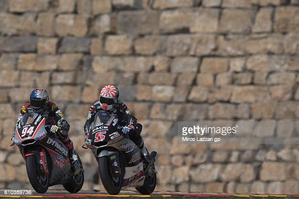 Jonas Folger of Germany and Dynavolt Intact GP leads Johann Zarco of France and Ajo Motorsport during the Moto2 race during the MotoGP of Spain Race...