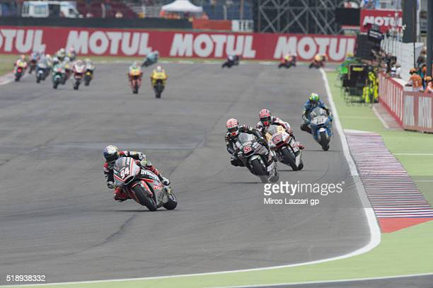 Jonas Folger of Germany and Dynavolt Intact GP leads the field during the Moto2 Race during the MotoGp of Argentina Race at Termas De Rio Hondo...
