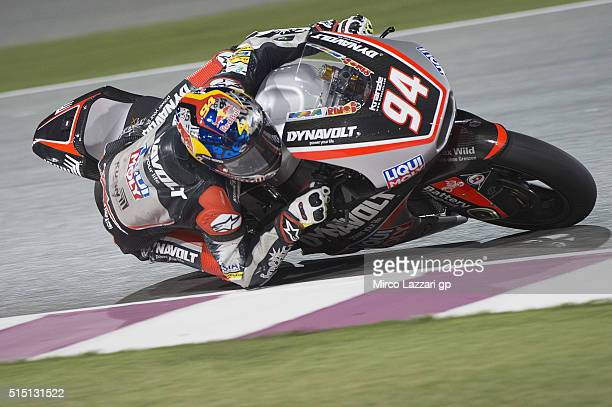 Jonas Folger of Germany and Dynavolt Intact GP rounds the bend during the Moto2 And Moto 3 Tests at Losail Circuit on March 12 2016 in Doha Qatar