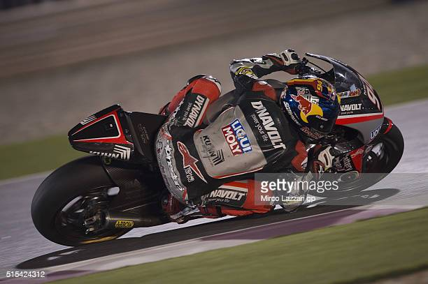 Jonas Folger of Germany and Dynavolt Intact GP rounds the bend during the Moto2 And Moto 3 Tests at Losail Circuit on March 13 2016 in Doha Qatar