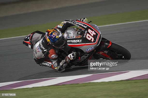 Jonas Folger of Germany and Dynavolt Intact GP rounds the bend during the MotoGp of Qatar Free Practice at Losail Circuit on March 18 2016 in Doha...
