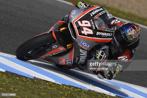 Jonas Folger of Germany and Dynavolt Intact GP rounds the bend during the MotoGp of Spain Free Practice at Circuito de Jerez on April 22 2016 in...