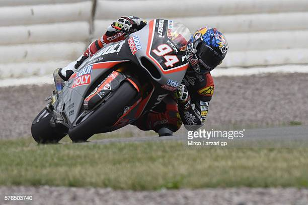 Jonas Folger of Germany and Dynavolt Intact GP rounds the bend during the MotoGp of Germany Free Practice at Sachsenring Circuit on July 15 2016 in...