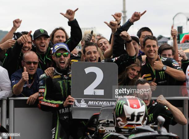 Jonas Folger of Germany and Monster Yamaha Team celebrates coming second during the MotoGP of Germany at Sachsenring Circuit on July 2 2017 in...