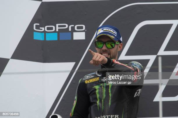 Jonas Folger of Germany and Monster Yamaha Tech 3 celebrates the second place on the podium at the end of the MotoGP race during the MotoGp of...