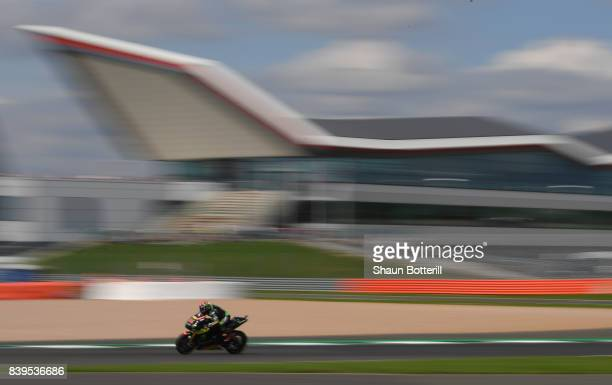 Jonas Folger of Germany and Monster Yamaha Tech 3 during Free Practice 4 at Silverstone Circuit on August 26 2017 in Northampton England