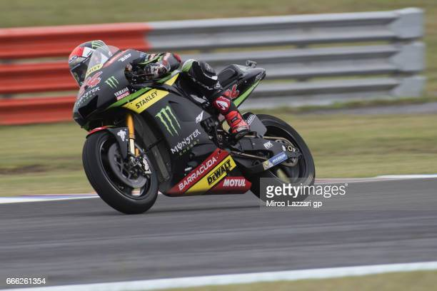 Jonas Folger of Germany and Monster Yamaha Tech 3 heads down a straight during the MotoGp of Argentina Qualifying on April 8 2017 in Rio Hondo...