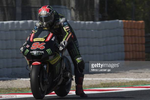 Jonas Folger of Germany and Monster Yamaha Tech 3 heads down a straight during the MotoGp of Catalunya Qualifying at Circuit de Catalunya on June 10...