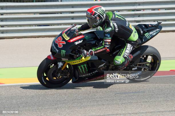 Jonas Folger of Germany and Monster Yamaha Tech 3 heads down a straight during the qualifying practice during the MotoGP of Aragon Qualifying at...