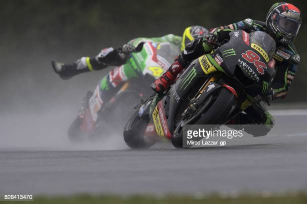 Jonas Folger of Germany and Monster Yamaha Tech 3 leads the field during the MotoGp of Czech Republic Free Practice at Brno Circuit on August 4 2017...