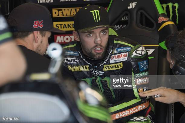Jonas Folger of Germany and Monster Yamaha Tech 3 looks on in box during the MotoGp of Czech Republic Qualifying at Brno Circuit on August 5 2017 in...