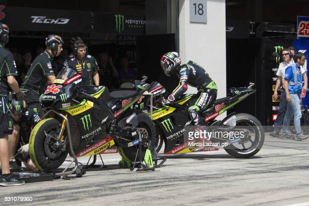 Jonas Folger of Germany and Monster Yamaha Tech 3 returns in box during the MotoGP race during the MotoGp of Austria Race at Red Bull Ring on August...