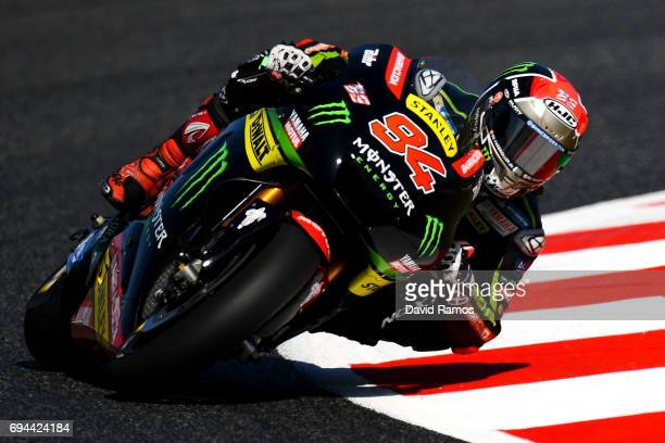 Jonas Folger of Germany and Monster Yamaha Tech 3 rides during a free practice ahead of qualifying at Circuit de Catalunya on June 10 2017 in...