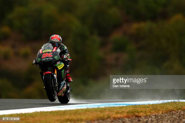 Jonas Folger of Germany and Monster Yamaha Tech 3 rides during free practice for the MotoGP of Spain at Circuito de Jerez on May 5 2017 in Jerez de...