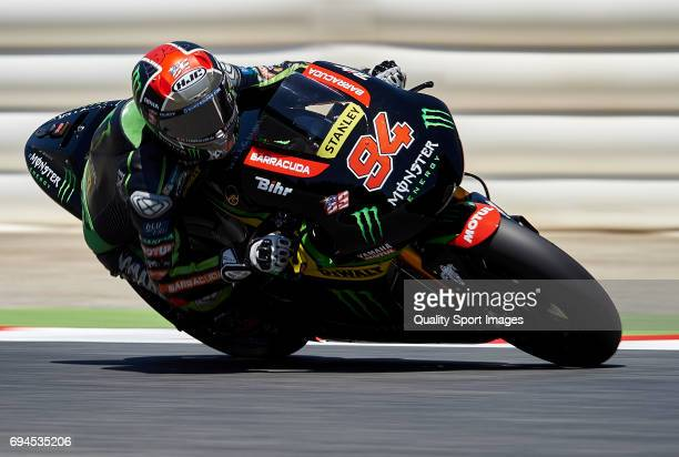 Jonas Folger of Germany and Monster Yamaha Tech 3 rides during free qualifying for the MotoGP of Catalunya at Circuit de Catalunya on June 10 2017 in...