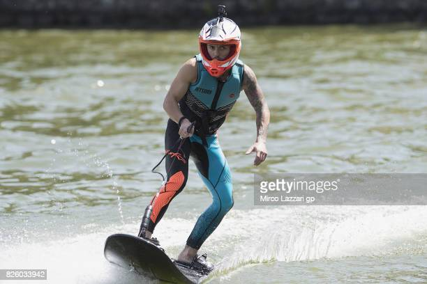 Jonas Folger of Germany and Monster Yamaha Tech 3 rides during the preevent 'Motogp riders make a JetSurf competition at the Brno Dam' during the...
