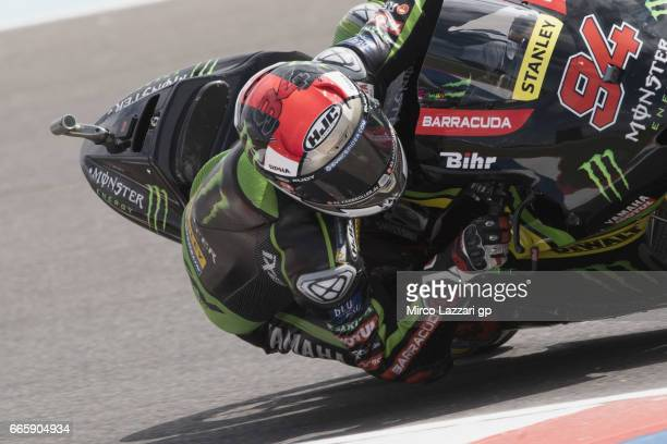 Jonas Folger of Germany and Monster Yamaha Tech 3 rounds the bend during the MotoGp of Argentina Free Practice on April 7 2017 in Rio Hondo Argentina