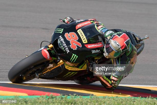Jonas Folger of Germany and Monster Yamaha Tech 3 rounds the bend during the MotoGP race during the MotoGp of Germany Race at Sachsenring Circuit on...