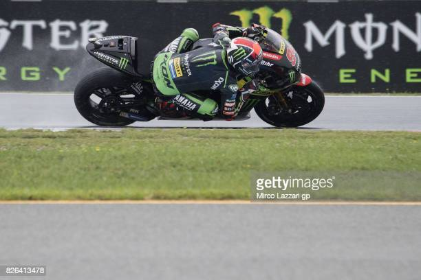 Jonas Folger of Germany and Monster Yamaha Tech 3 rounds the bend during the MotoGp of Czech Republic Free Practice at Brno Circuit on August 4 2017...