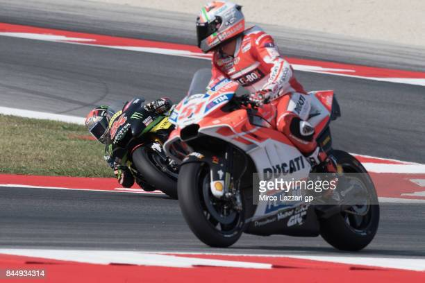 Jonas Folger of Germany and Monster Yamaha Tech 3 rounds the bend during the MotoGP qualifying during the MotoGP of San Marino Qualifying at Misano...