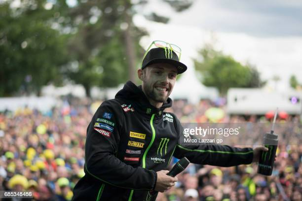 Jonas Folger of Germany and Monster Yamaha Tech 3 smiles at the fans during the 'Questions and Answers' during the MotoGp of France Free Practice on...