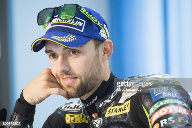 Jonas Folger of Germany and Monster Yamaha Tech 3 smiles during the press conference at the end of the MotoGP race during the MotoGp of Germany Race...