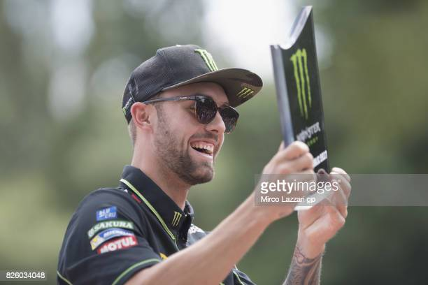 Jonas Folger of Germany and Monster Yamaha Tech 3 smiles during the preevent 'Motogp riders make a JetSurf competition at the Brno Dam' during the...