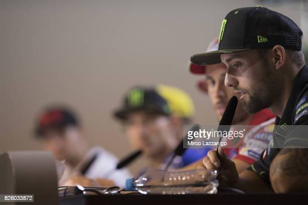 Jonas Folger of Germany and Monster Yamaha Tech 3 speaks during the press conference during the MotoGp of Czech Republic Previews at Brno Circuit on...