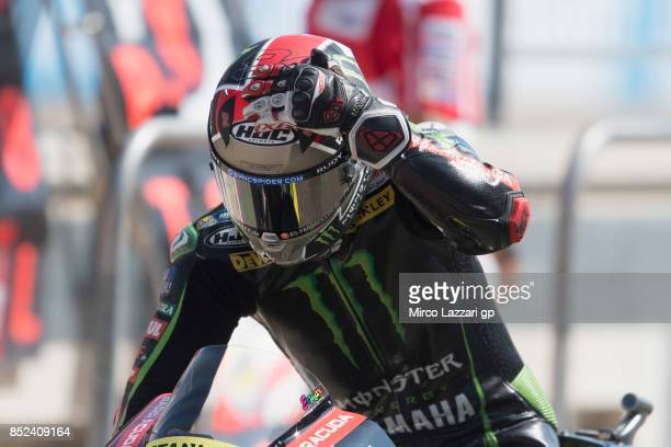 Jonas Folger of Germany and Monster Yamaha Tech 3 starts from box during the qualifying practice during the MotoGP of Aragon Qualifying at Motorland...