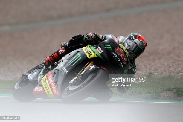 Jonas Folger of Germany and Monster Yamaha Tech 3 Team in action during the MotoGP of Germany at Sachsenring Circuit on July 2 2017 in...