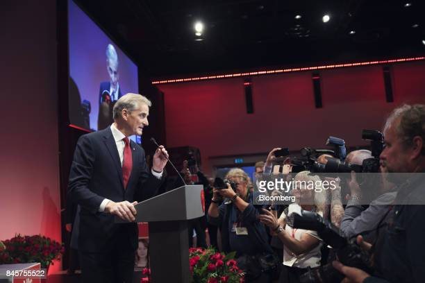 Jonas Gahr Storeleader of Norway's Labor Party speaks to supporters following the parliamentary vote in Oslo Norway on Monday Sept 11 2017...