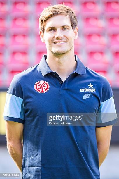 Jonas Gruenewald poses during the 1 FSV Mainz Team Presentation at Coface Arena on July 18 2014 in Mainz Germany