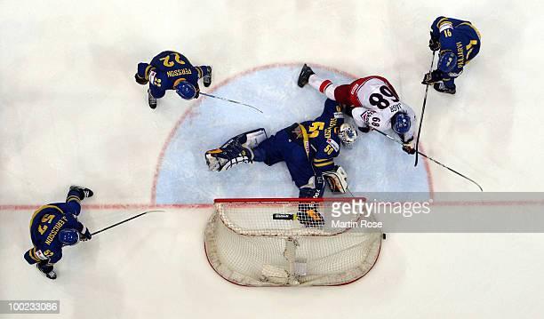 Jonas Gustavsson goaltender of Sweden saves the shot of Jaromir Jagr of Czech Republic during the IIHF World Championship semifinal match between...