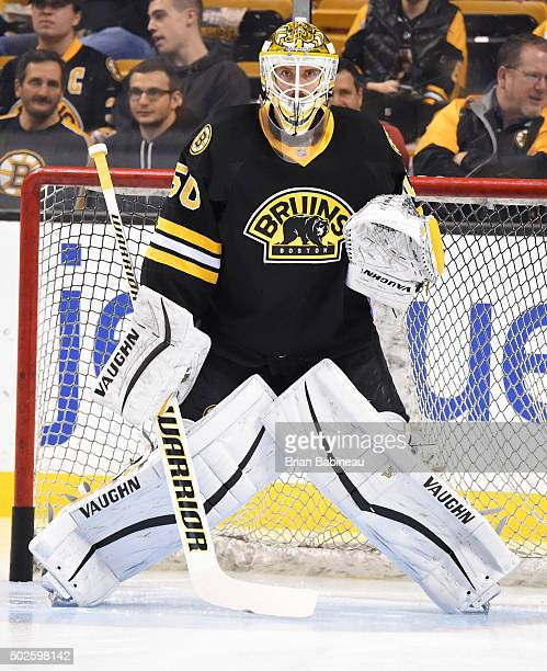 Jonas Gustavsson of the Boston Bruins during warm ups against the Buffalo Sabres at the TD Garden on December 26 2015 in Boston Massachusetts