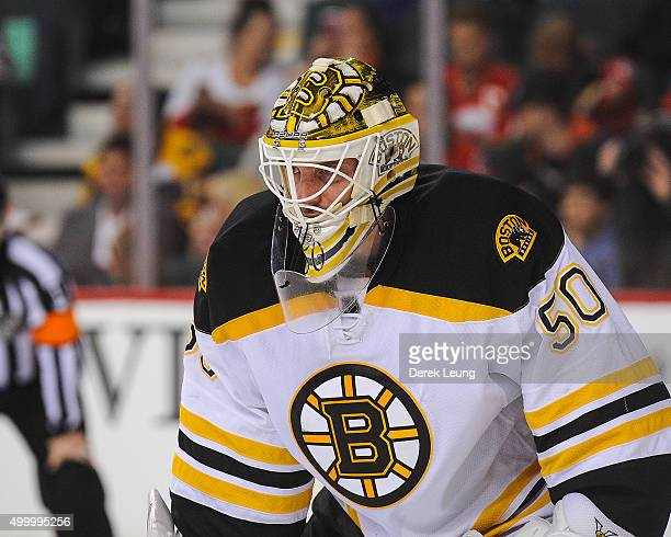 Jonas Gustavsson of the Boston Bruins in action against the Calgary Flames during an NHL game at Scotiabank Saddledome on December 4 2015 in Calgary...
