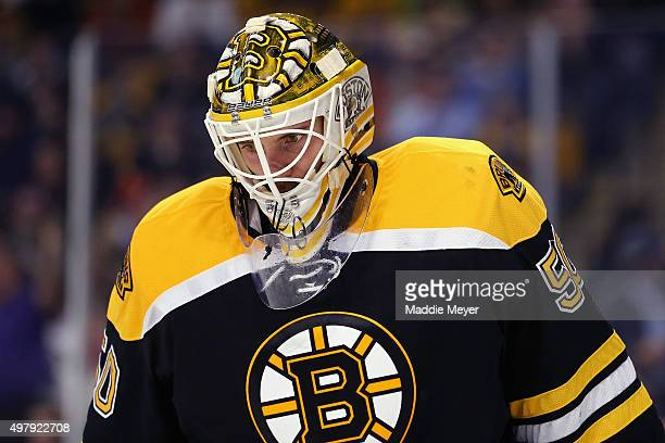 Jonas Gustavsson of the Boston Bruins looks on during the second period against the Minnesota Wildat TD Garden on November 19 2015 in Boston...