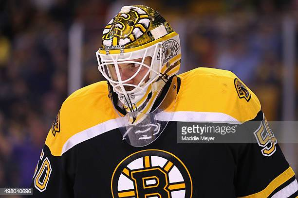 Jonas Gustavsson of the Boston Bruins looks on during the second period against the Minnesota Wild at TD Garden on November 19 2015 in Boston...
