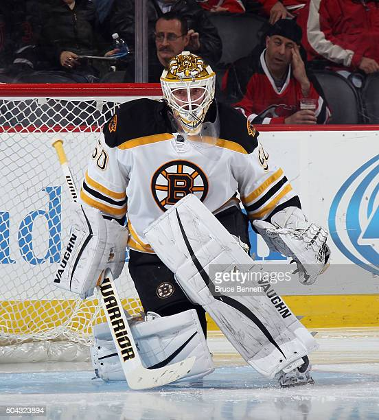 Jonas Gustavsson of the Boston Bruins skates against the New Jersey Devils at the Prudential Center on January 8 2016 in Newark New Jersey The Bruins...