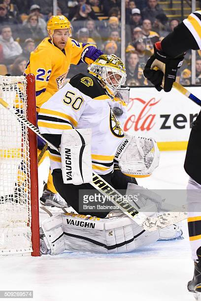 Jonas Gustavsson of the Boston Bruins stops the puck against the Los Angeles Kings at the TD Garden on February 9 2016 in Boston Massachusetts