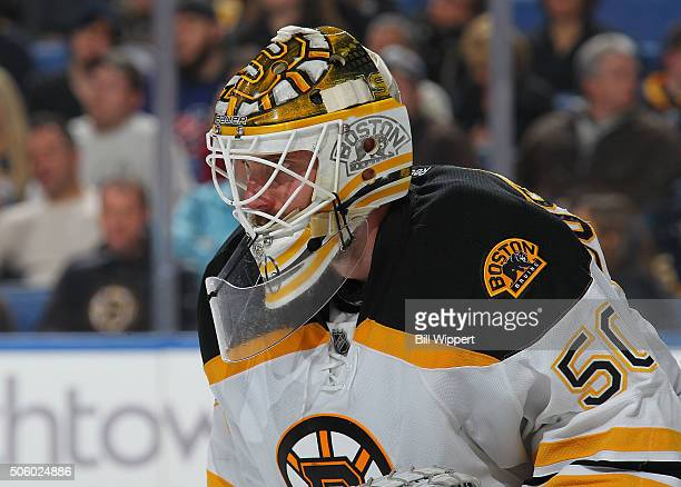 Jonas Gustavsson of the Boston Bruins tends goal against the Buffalo Sabres during an NHL game on January 15 2016 at the First Niagara Center in...