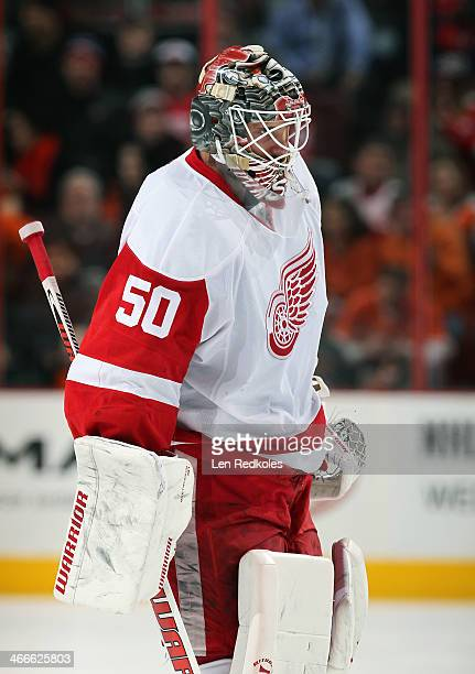 Jonas Gustavsson of the Detroit Red Wings looks on during a stoppage in play against the Philadelphia Flyers on January 28 2014 at the Wells Fargo...