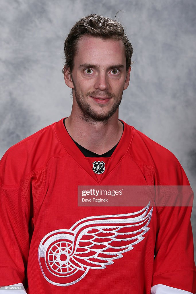 Jonas Gustavsson #50 of the Detroit Red Wings poses for his official headshot for the 2013-2014 season at Centre Ice Arena on September 11, 2013 in Traverse City, Michigan.
