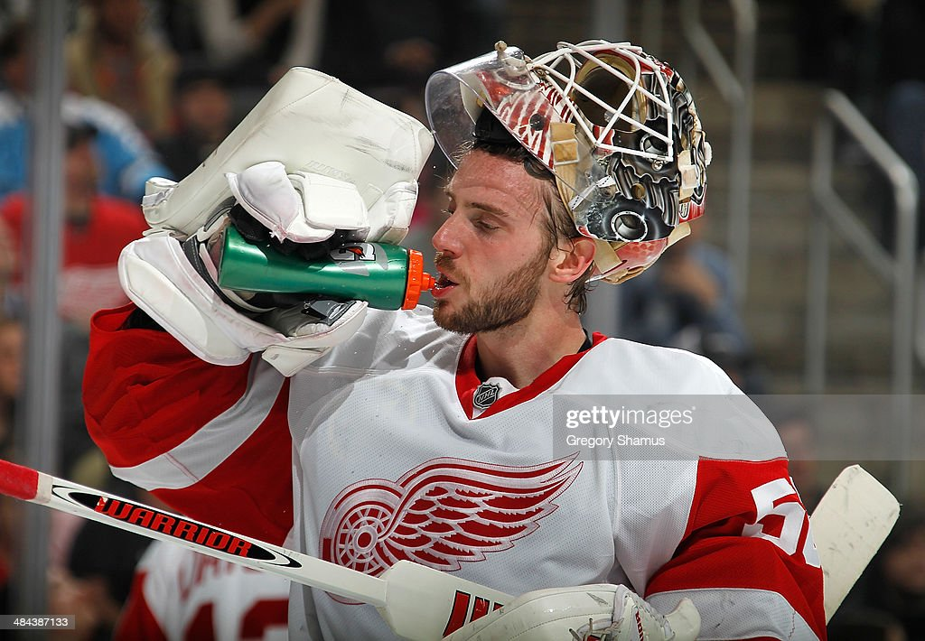 Jonas Gustavsson #50 of the Detroit Red Wings takes a drink during the game against the Pittsburgh Penguins on April 9, 2014 at Consol Energy Center in Pittsburgh, Pennsylvania.