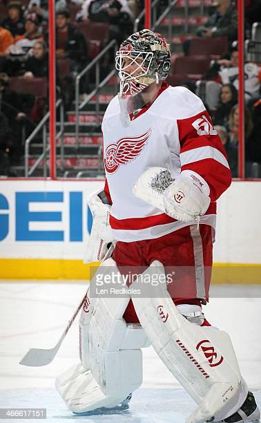 Jonas Gustavsson of the Detroit Red Wings tends goal against the Philadelphia Flyers on January 28 2014 at the Wells Fargo Center in Philadelphia...