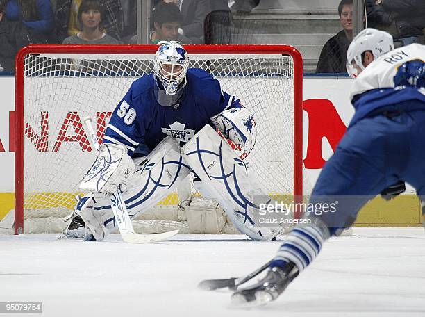 Jonas Gustavsson of the Toronto Maple Leafs gets set to face a shot in a game against the Buffalo Sabres on December 21 2009 at the Air Canada Centre...