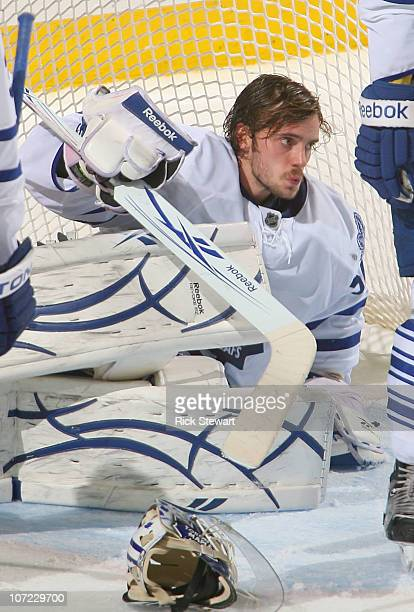Jonas Gustavsson of the Toronto Maple Leafs gets up after making a save against the Buffalo Sabres at HSBC Arena on November 26 2010 in Buffalo New...