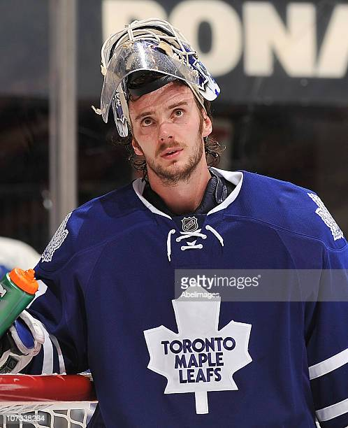 Jonas Gustavsson of the Toronto Maple Leafs looks on during a break in game action against the Tampa Bay Lightning November 30 2010 at the Air Canada...